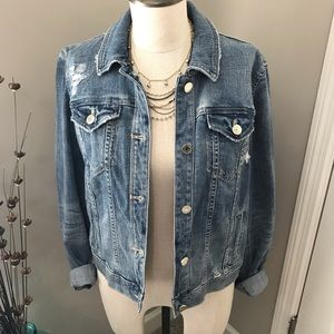 WHBM Destructed Denim Jacket